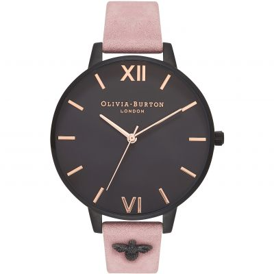 Embellished 3D Bee Black & Rose Suede Watch