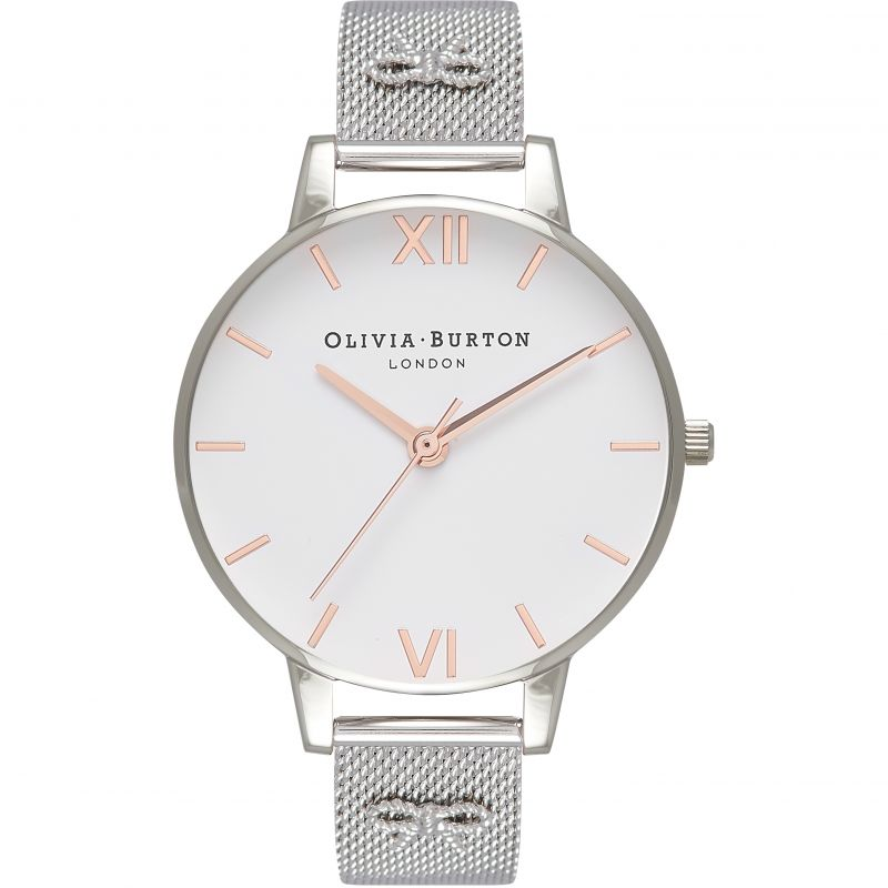 Embellished Vintage Bow Silver Mesh Watch