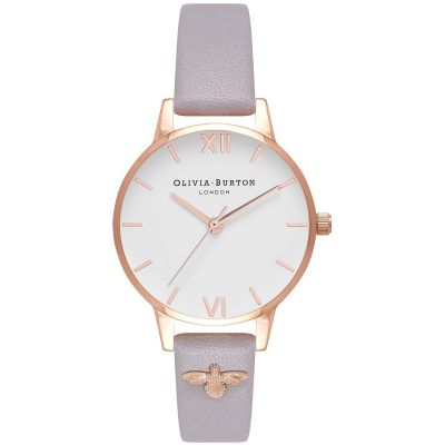 3D Bee Embellished Strap Grey Lilac & Rose Gold Watch