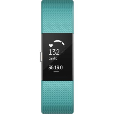Fitbit Large - Teal Charge 2 Bluetooth Fitness Activity Tracker Unisexuhr in Grün FB407STEL-EU