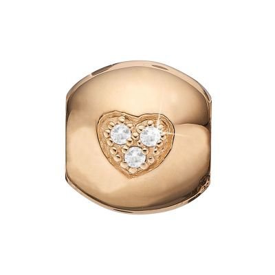 Ladies Christina Gold Plated Sterling Silver Topaz Heart Dream Bead Charm 623-G09
