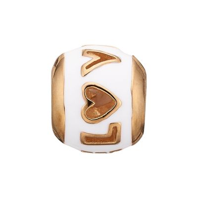 Ladies Christina Gold Plated Sterling Silver Enamel Love Bead Charm 623-G13