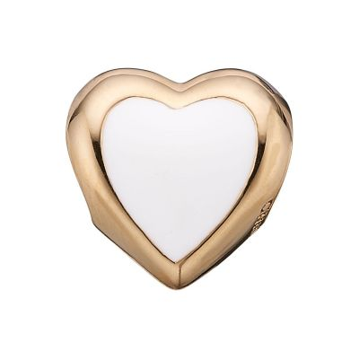 Ladies Christina Gold Plated Sterling Silver Big Enamel Heart Bead Charm 623-G14