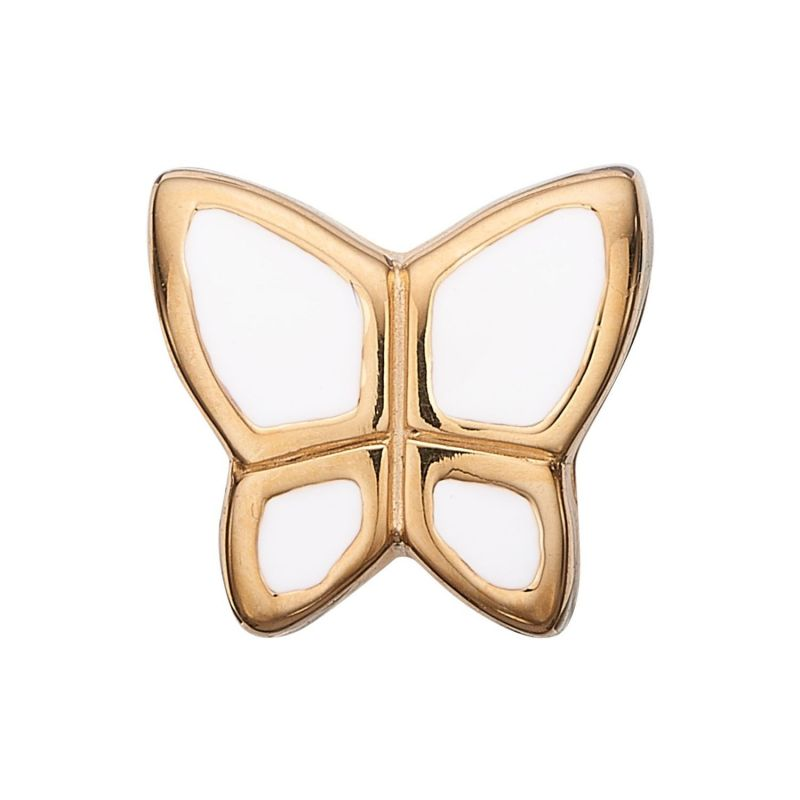 Ladies Christina Gold Plated Sterling Silver White Butterfly Bead Charm 623-G41-WHITE