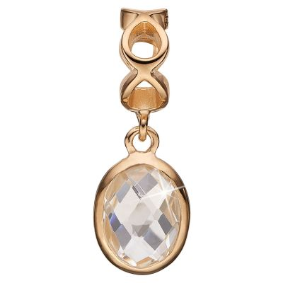 Christina Dames Sterling Silver Moving Crystal Bead Charm Verguld goud 623-G48