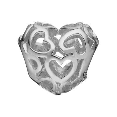 Ladies Christina Sterling Silver Heart Beat Love Bead Charm 623-S01