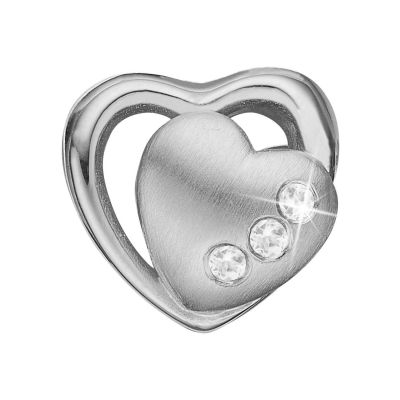 Ladies Christina Sterling Silver 2 Hearts Bead Charm 623-S05