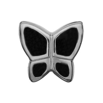 Ladies Christina Sterling Silver Butterfly Black Bead Charm 623-S41-BLACK