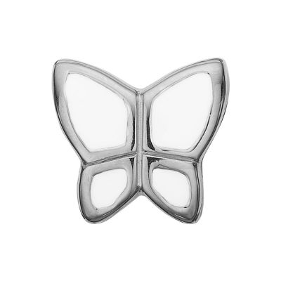 Ladies Christina Sterling Silver Butterfly White Bead Charm 623-S41-WHITE