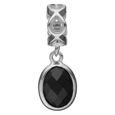 Ladies Christina Sterling Silver Moving Onyx Bead Charm 623-S47
