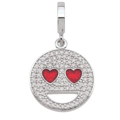 Ladies Persona Sterling Silver Heart Eyes Emoji Charm H14993PZ