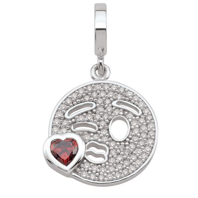 Ladies Persona Sterling Silver Blow A Kiss Emoji Charm H14996PZ