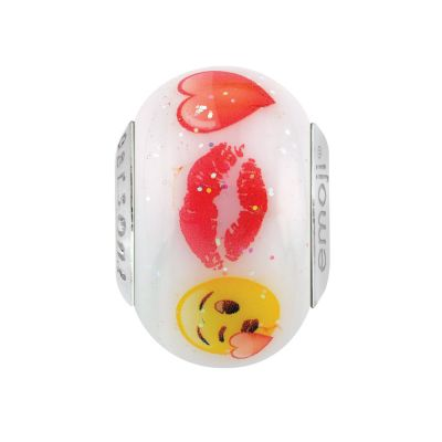 Ladies Persona Sterling Silver Love Emoji Glass Bead Charm H15105PM