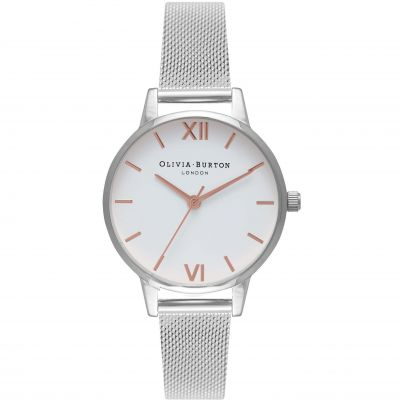White Dial Mesh Rose Gold & Silver Watch