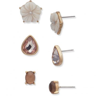Ladies Lonna And Lilly Rose Gold Plated Stud Earrings Set 60469008-C48
