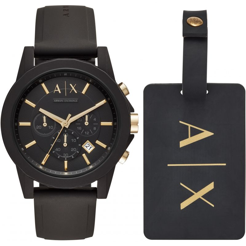 Mens Armani Exchange Luggage Tag Gift Set Chronograph Watch AX7105