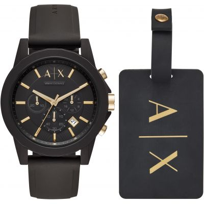 Armani Exchange Luggage Tag Gift Set Herrenchronograph in Schwarz AX7105
