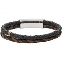 Mens Fossil Stainless Steel Vintage Casual Leather Bracelet JF02758998