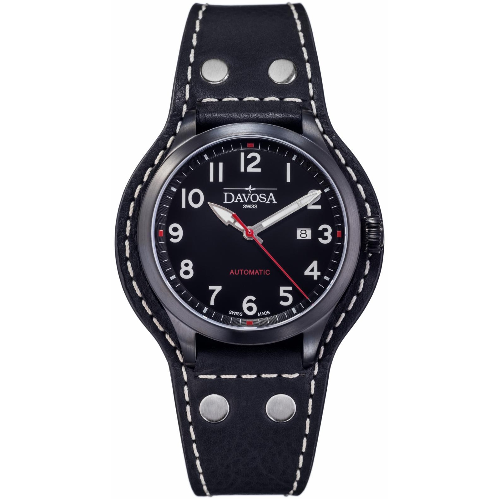 leather swiss defender uk on watch pvd automatic image watches chronograph strap air black