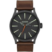 Mens Nixon The Sentry Leather Watch A105-2736