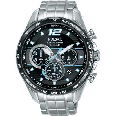 Mens Pulsar Accelerator Chronograph Solar Powered Watch PZ5031X1