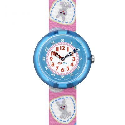 Childrens Flik Flak Camping Badge Pink Watch FBNP091