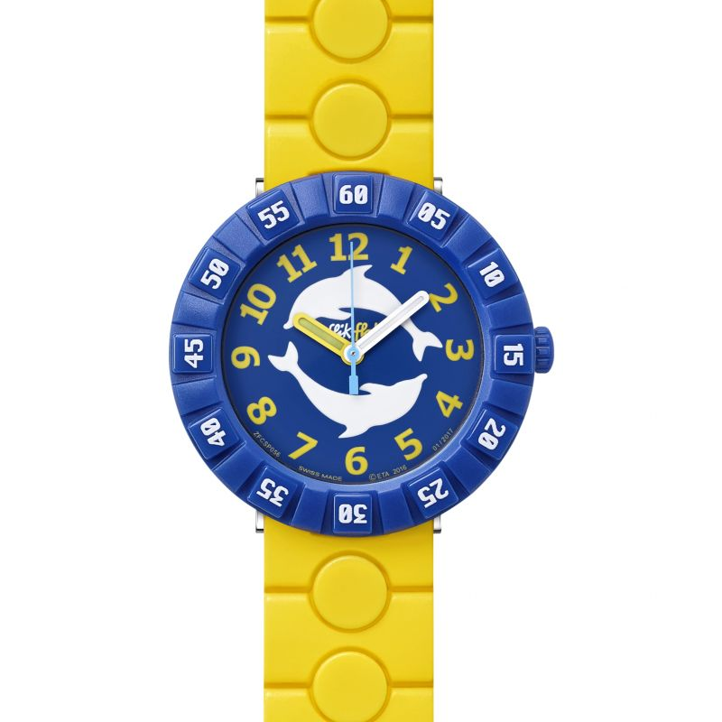 Childrens Flik Flak Dolph In Yellow Watch FCSP056