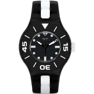 Swatch B And W Deep Unisex horloge Zwart SUUB102