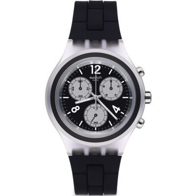 Unisex Swatch Eleblack Chronograph Watch SVCK1004