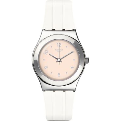 Swatch Irony Medium Blusharound Unisexuhr in Weiß YLS199