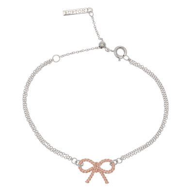 Ladies Olivia Burton Two-Tone Steel and Rose Plate Vintage Bow Chain Bracelet OBJ16VBB04