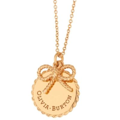 Ladies Olivia Burton Gold Plated Vintage Bow Coin and Bow Necklace OBJ16VBN01