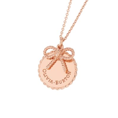 Ladies Olivia Burton Rose Gold Plated Vintage Bow Coin and Bow Necklace OBJ16VBN02