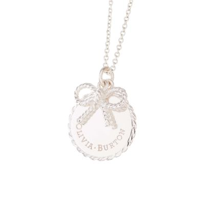 Olivia Burton Dam Vintage Bow Coin and Bow Necklace Silverpläterad OBJ16VBN03