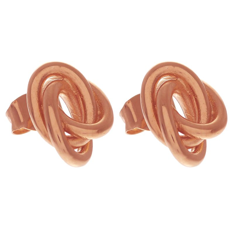 Ladies Olivia Burton Rose Gold Plated Sterling Silver Forget Me Knot Knotted Stud Earrings OBJ16KDE02