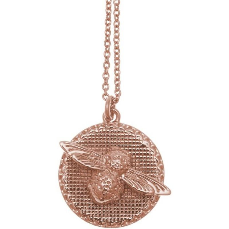 3 D Bee And Coin Rose Gold Necklace Obj16 Amn09 by Olivia Burton Jewellery