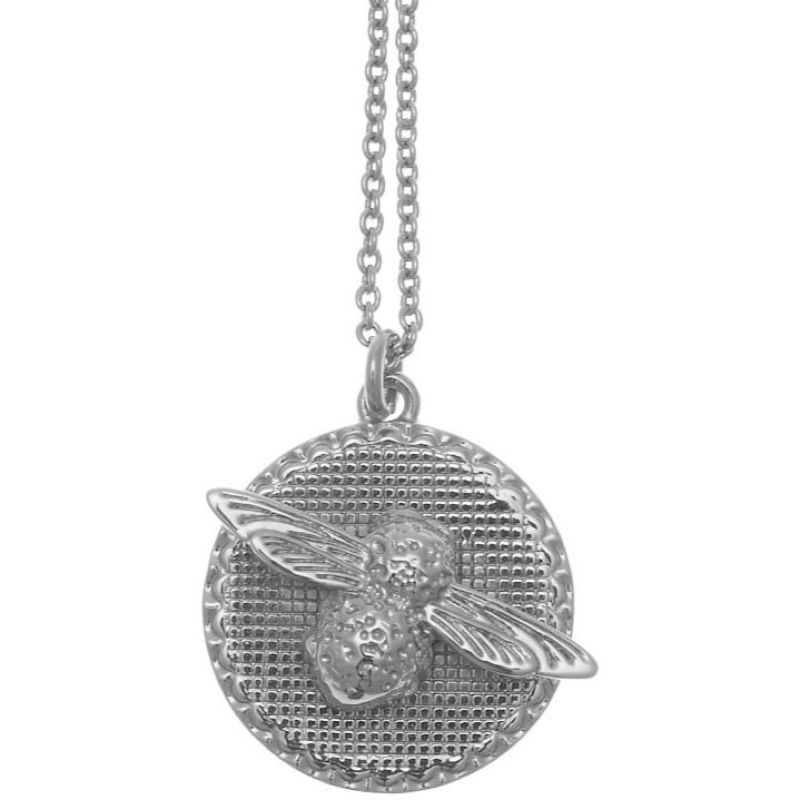 3D Bee And Coin Silver Necklace OBJ16AMN10