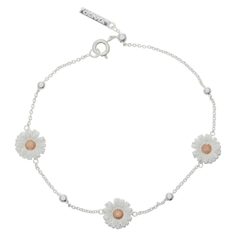 Ladies Olivia Burton Two-Tone Steel and Rose Plate Daisy & Ball Chain Bracelet OBJ16DAB02
