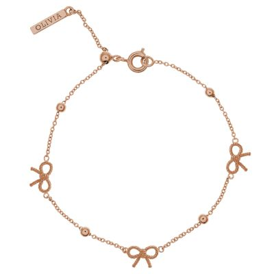 Ladies Olivia Burton Rose Gold Plated Vintage Bow & Ball Bracelet OBJ16VBB09