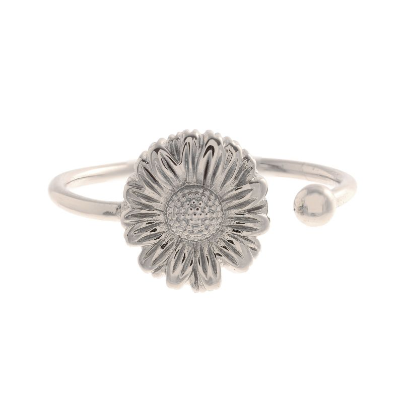 3D Daisy Open Ended Silver Ring OBJ16DAR05