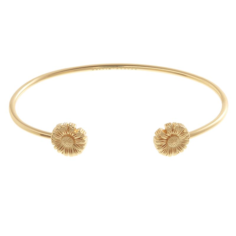 3D Daisy Open Ended Gold Bangle OBJ16DAB03