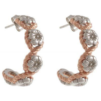 Biżuteria damska Olivia Burton Jewellery & Sterling Silver Flower Show Rope Hoop Earrings OBJ16FSE07