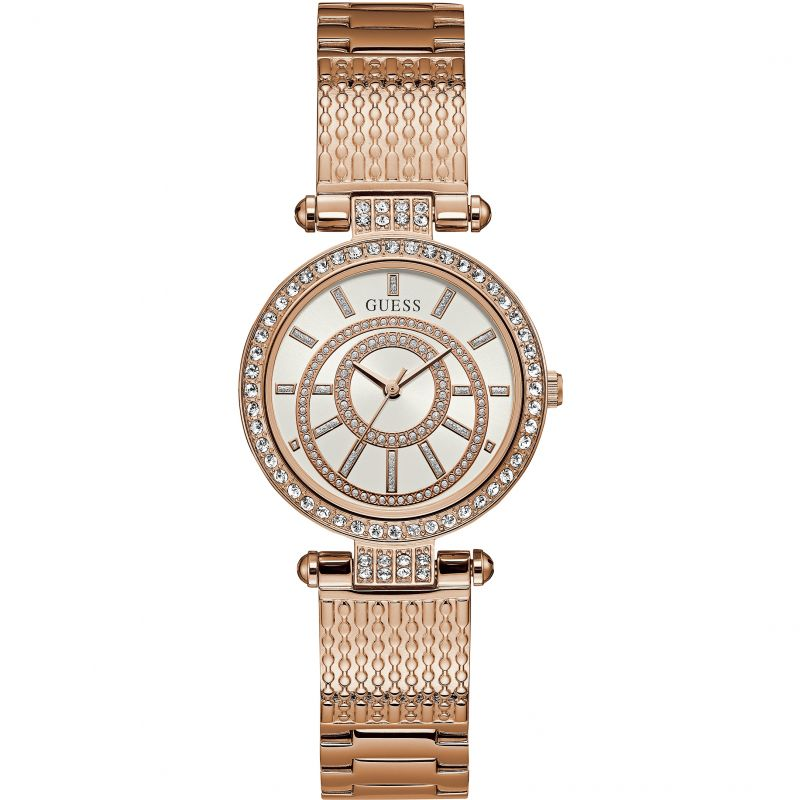 GUESS Ladies rose gold watch, white dial and rose gold textured bracelet.