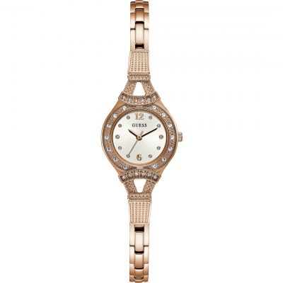 GUESS Ladies rose gold watch, white dial and rose gold bracelet.