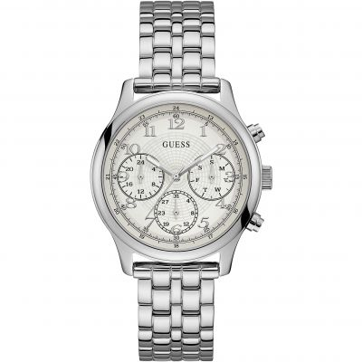 GUESS Ladies silver watch with white dial and silver bracelet.