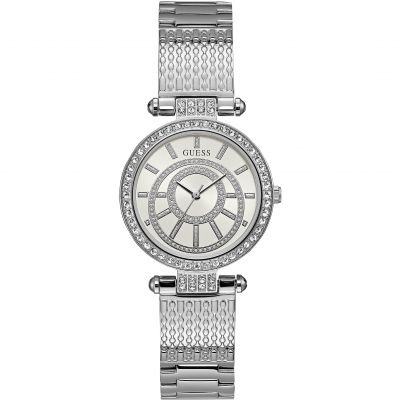 GUESS Ladies silver watch, white dial and silver textured bracelet.