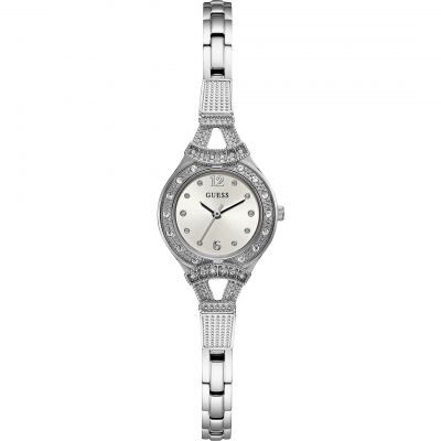 GUESS Ladies silver watch with crystals, white dial and silver bracelet.