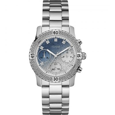 GUESS Ladies silver watch with crystals, light blue & silver glitter dial and silver bracelet.