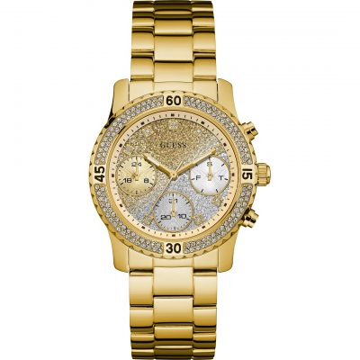 GUESS Ladies gold watch with crystals, gold to silver dial and gold bracelet.