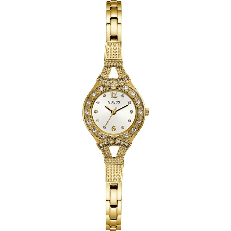 GUESS Ladies gold watch, white dial and gold bracelet.